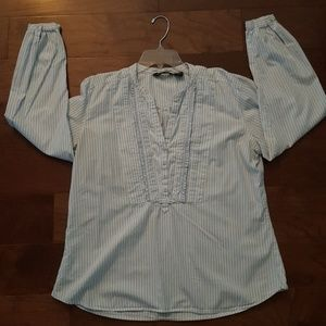 Eddie Bauer blue& whited striped blouse